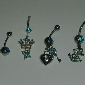 Jewelry - Blue Navel Ring Set (4)
